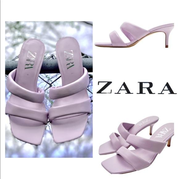 New ZARA Mauve Leather Heeled Strappy Sandals